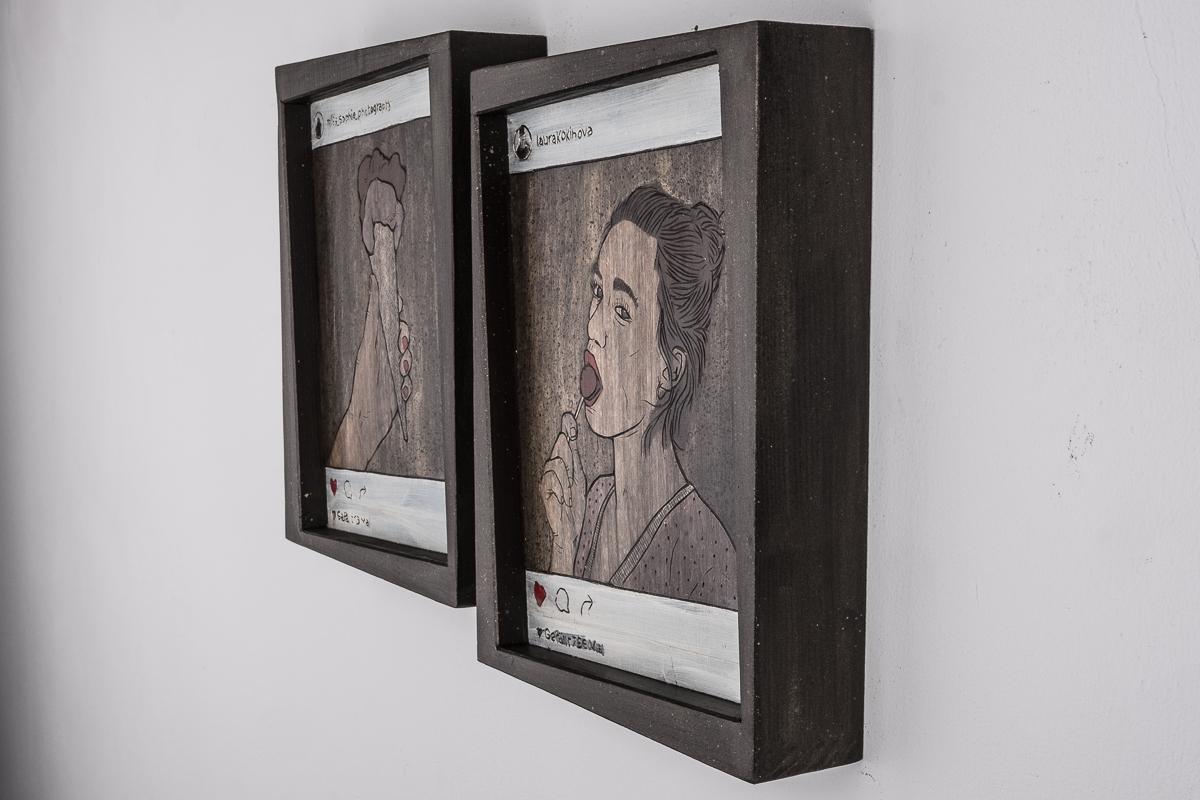 Alex Diamond: Gefaellt 775 Mal (2016) Acrylfarbe auf Holzschnitt, 32 x 45 x 5 cm |Instagram users @miss_sophie_photography @laurakokinowa