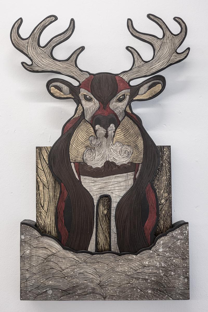 """Alex Diamond: The Darwinist (2016) woodcut, acrylic paint, 63 x 36,5 x 5,5 cm (24,8"""" x 14,4"""" x 2,2"""")"""