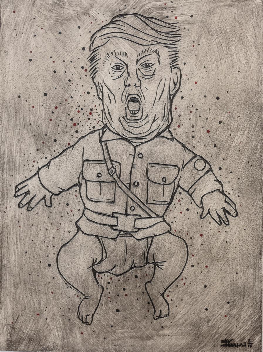 "Alex Diamond: RESIST (Trumpomania) Painted woodcut (2017). Wood, acrylic paint, 18 x 24 x 3 cm (7,1"" x 9,5"" x 1,2"")."