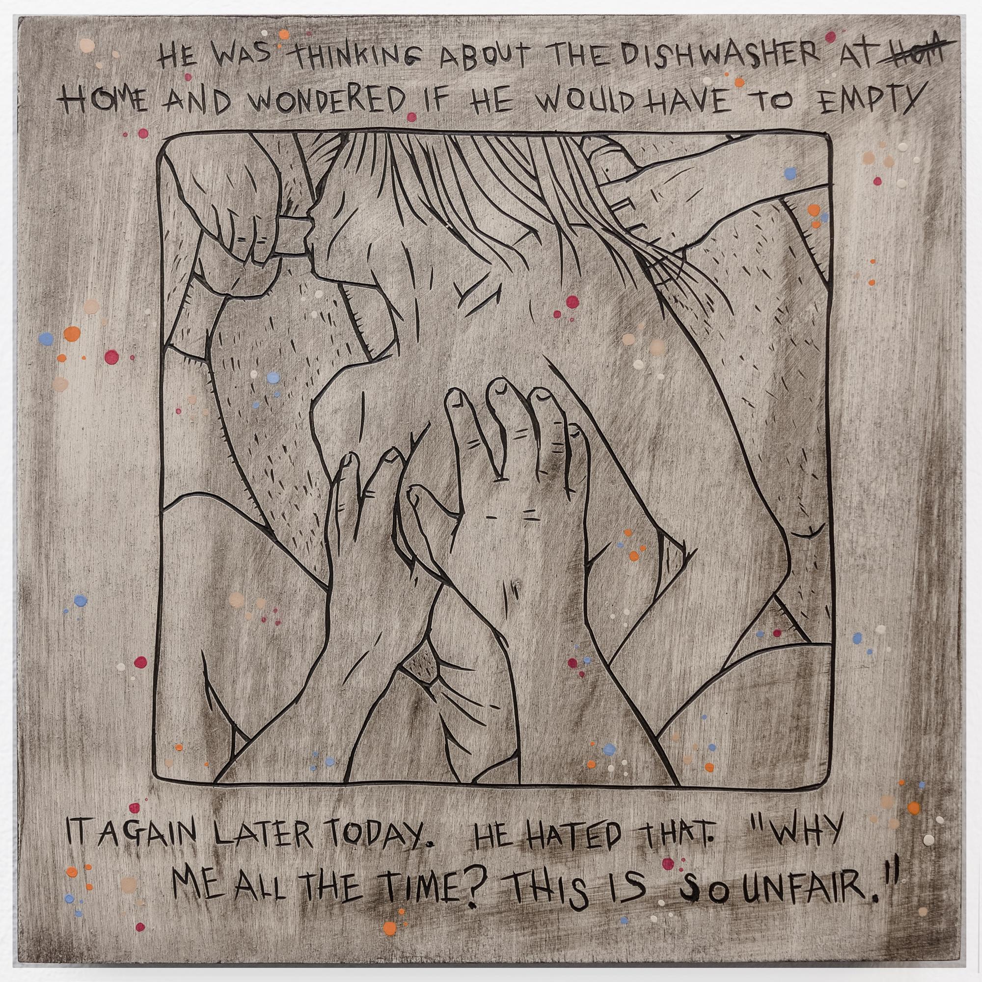 "Alex Diamond: Everyday Problem 001 (The Shunga Series, 2017). Wood, acrylic paint.20 x 20 x 3 cm (7.9"" x 7.9"" x 1.2"")"