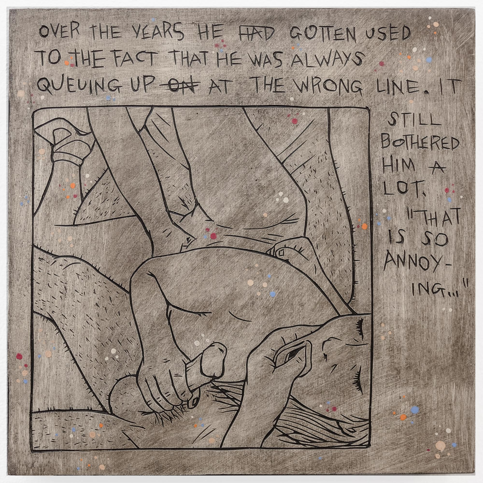 "Alex Diamond: Everyday Problem 002 (The Shunga Series, 2017). Wood, acrylic paint.20 x 20 x 3 cm (7.9"" x 7.9"" x 1.2"")"