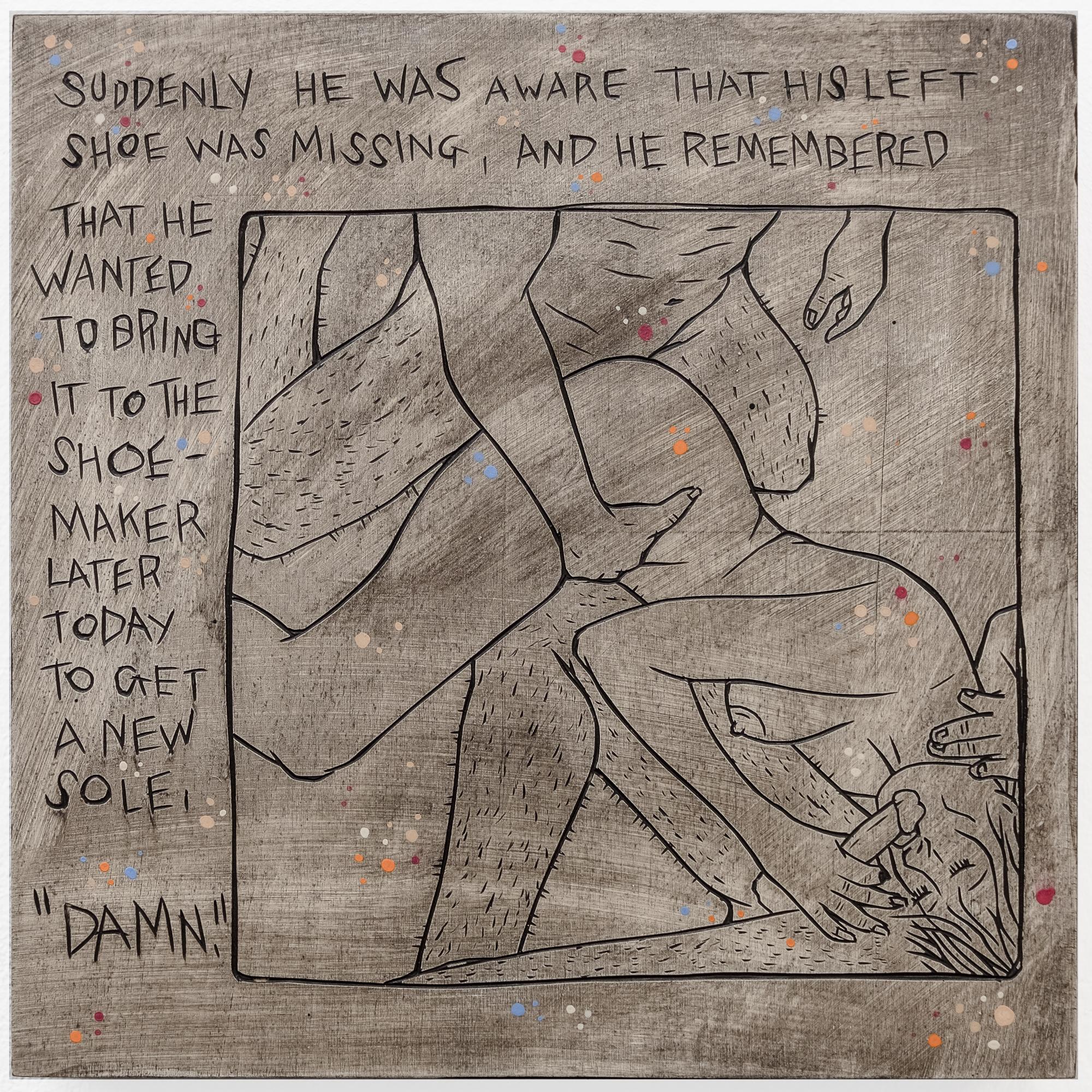 "Alex Diamond: Everyday Problem 003 (The Shunga Series, 2017). Wood, acrylic paint.20 x 20 x 3 cm (7.9"" x 7.9"" x 1.2"")"