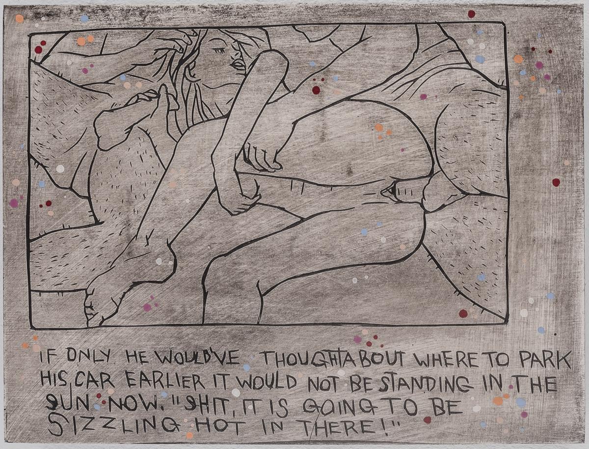Alex Diamond: Everyday Problem 006 (The Shunga Series, 2017). Wood, acrylic paint. 15 x 20 x 3 cm