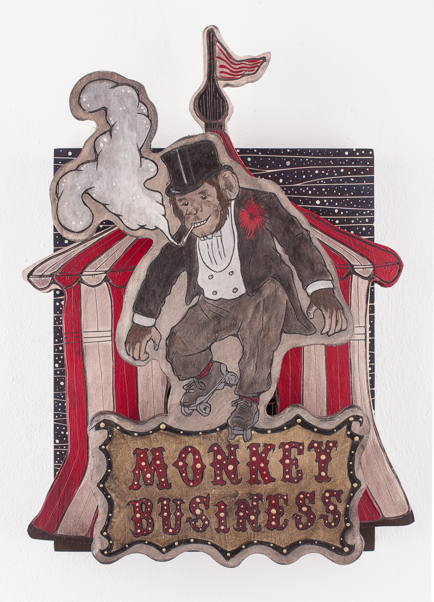 Alex Diamond: (Too Much) Monkey Business Sculptural Woodcut (2017). Wood, acrylic paint, 40 x 30 x 14 cm.