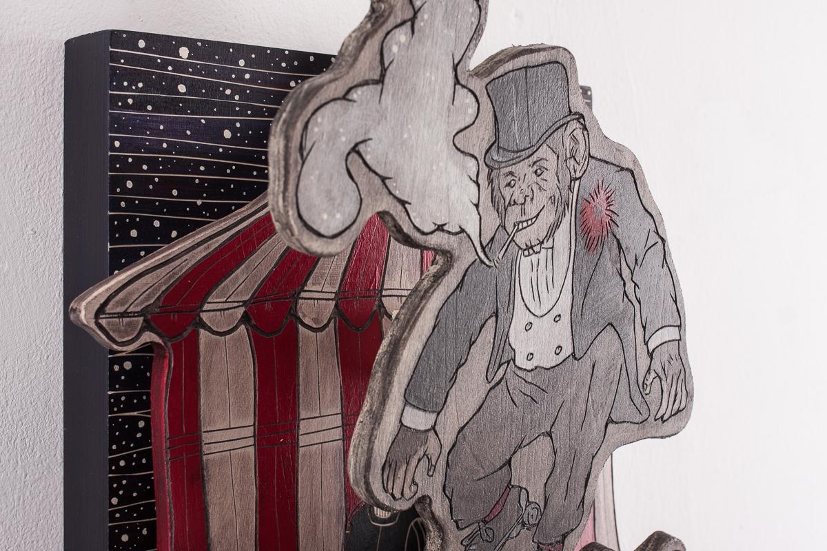 "Alex Diamond: (Too Much) Monkey Business (2017) Sculptural WoodcutWood, acrylic paint, 40 x 30 x 14 cm (15.7"" x 11.8"" x 5.5"")"