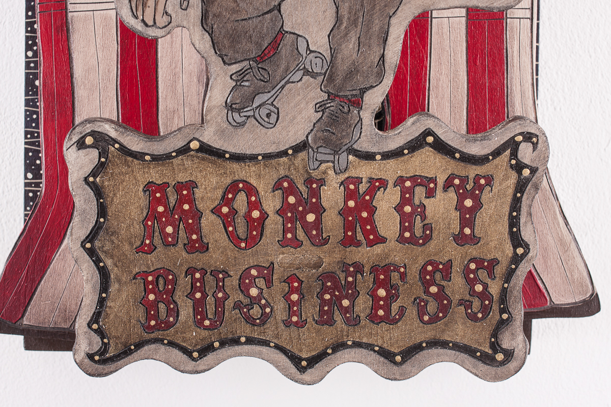 "Alex Diamond: (Too Much) Monkey Business (2017) Sculptural WoodcutWood, acrylic paint, 40 x 30 x 14 cm (15.7"" x 11.8"" x 5.5"")"