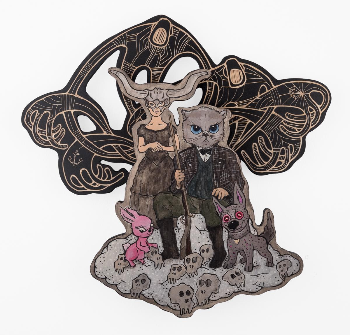 Alex Diamond: THE REVEREND REMINGTON HUNTING PARTY (2017) Sculptural woodcut, Acrylic paint, 42 x 45 x 6 cm