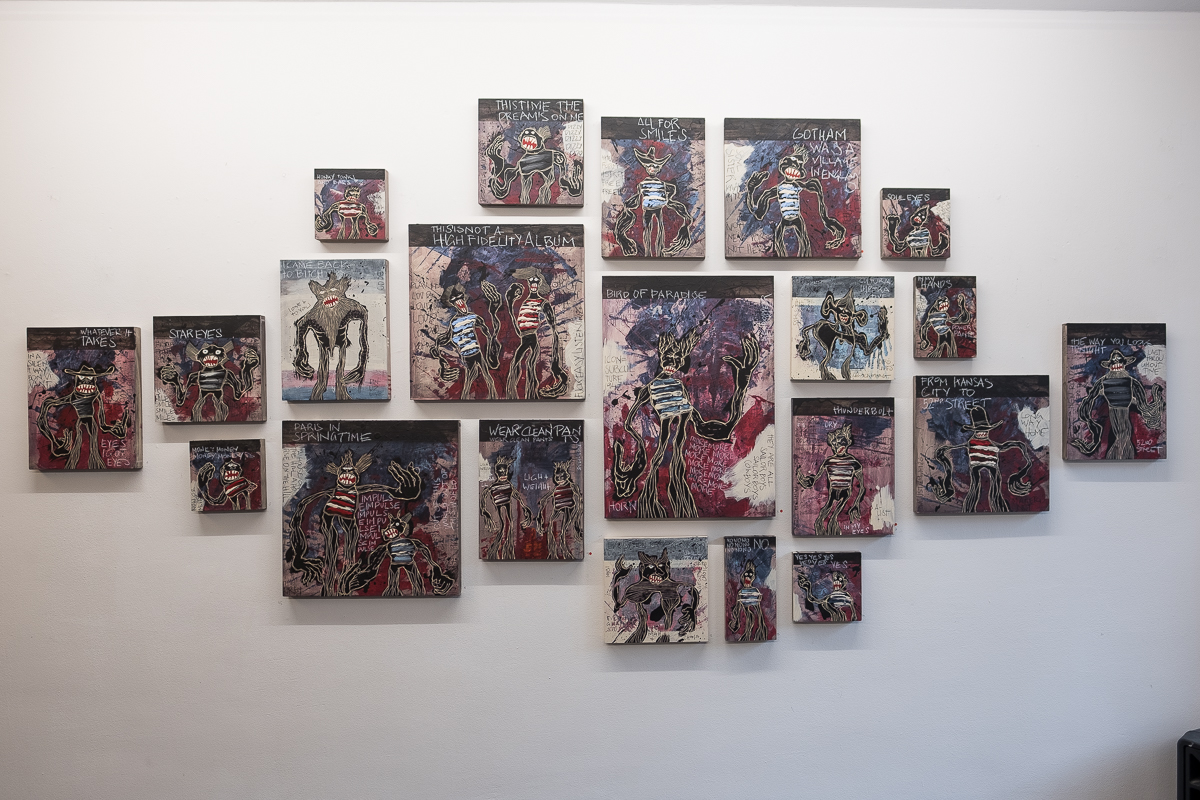 """The Freedom Paintings"" all together on one wall at the exhibition ""Hello My Dear"" at heliumcowboy in Hamburg, March 2018."