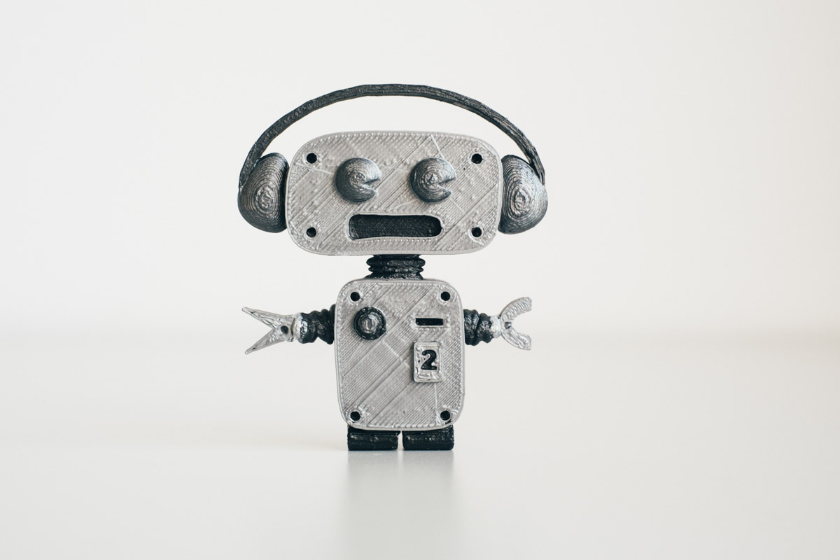 My second self-made 3D print: a robot, inspired by a drawing I made a while back  (click to enlarge)