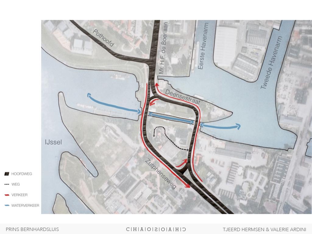 Verkeersstromen - auto & water. Sluisgebied is eeneiland tussen de zich splitsende toegangswegen.