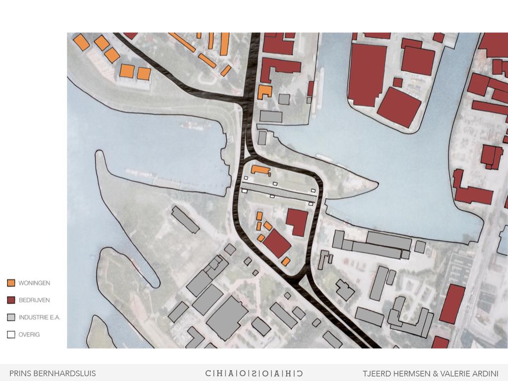 Bebouwing:sluisgebied als grens tussen stad en industrie- en bedrijventerrein
