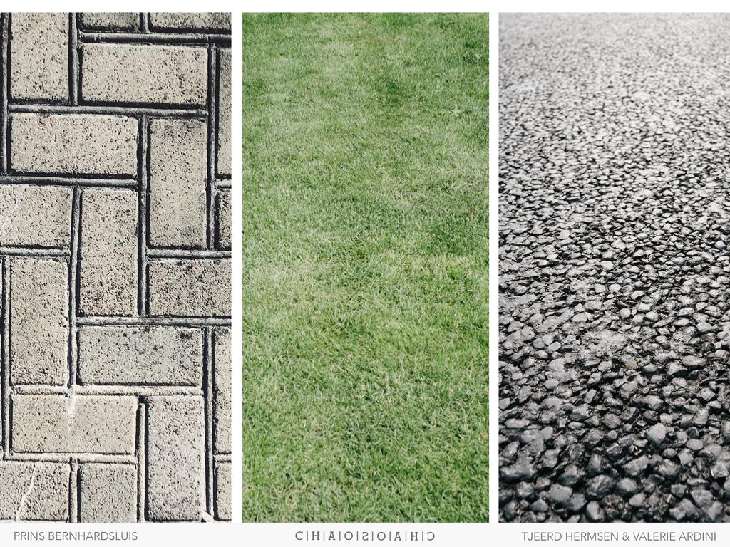 Texturen, materialisering voorstel. Terugbrengen naar klinkers in elleboogverband, gras en asfalt