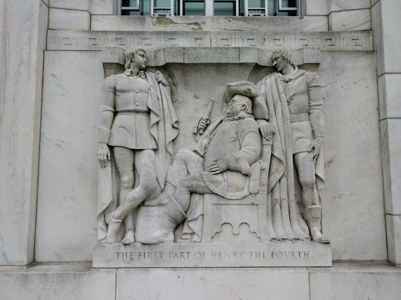 "One of the nine reliefs decorating the front of the library. This one JUST HAPPENS to depict the ""Good Tickle Brain"" scene from  Henry IV, part 1."