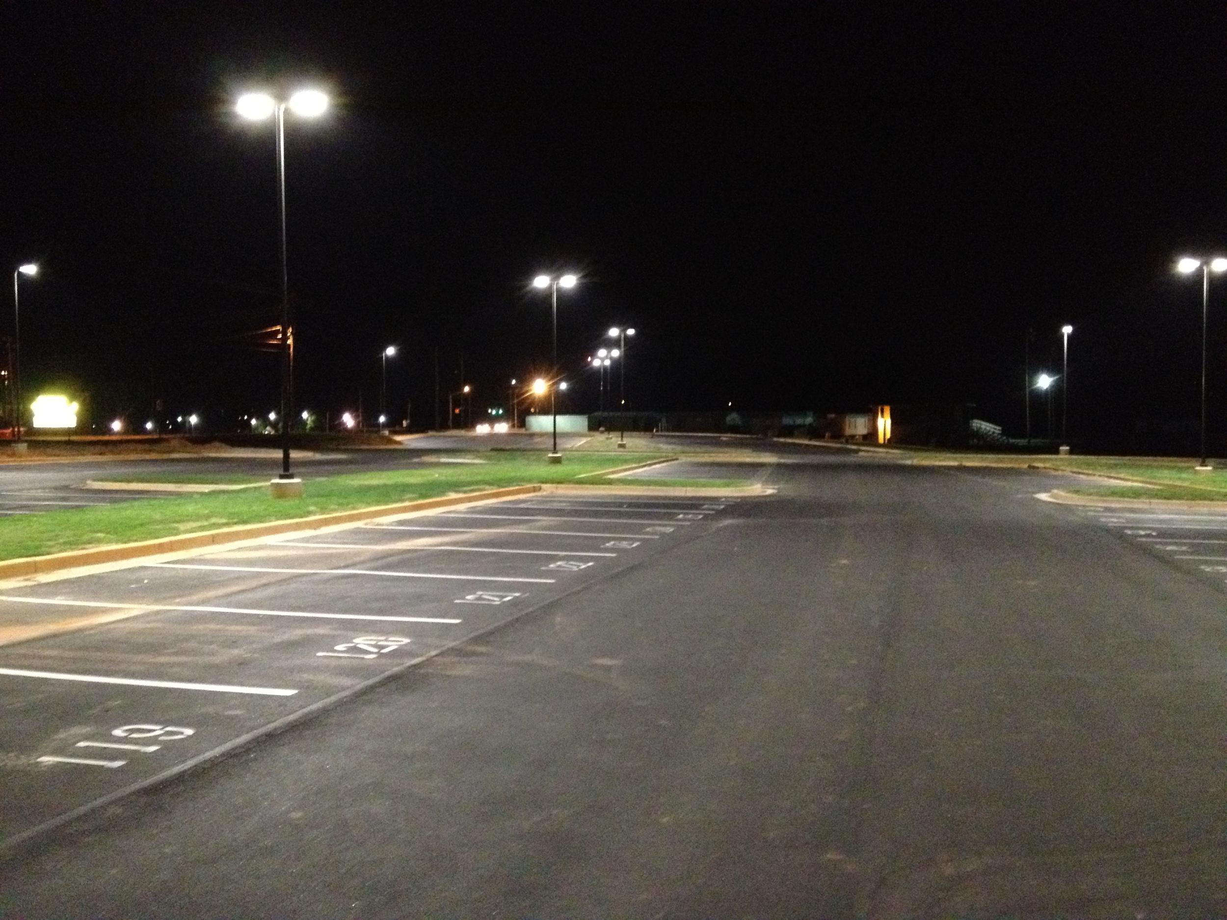 LED Lit Parking Lot