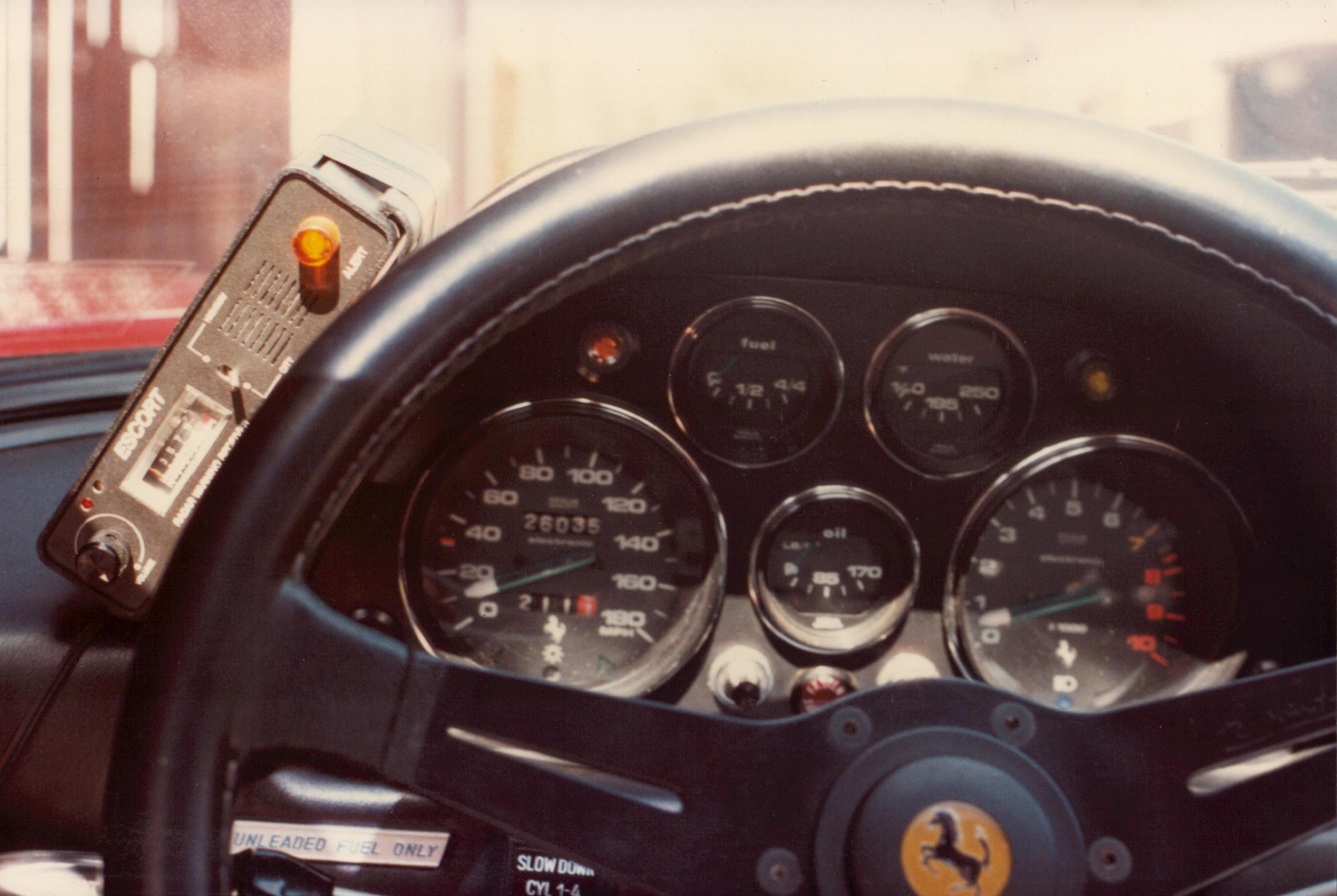 Ferrari 308 from 1983 US Express - Take note of the amazing radar detector technology of the time.
