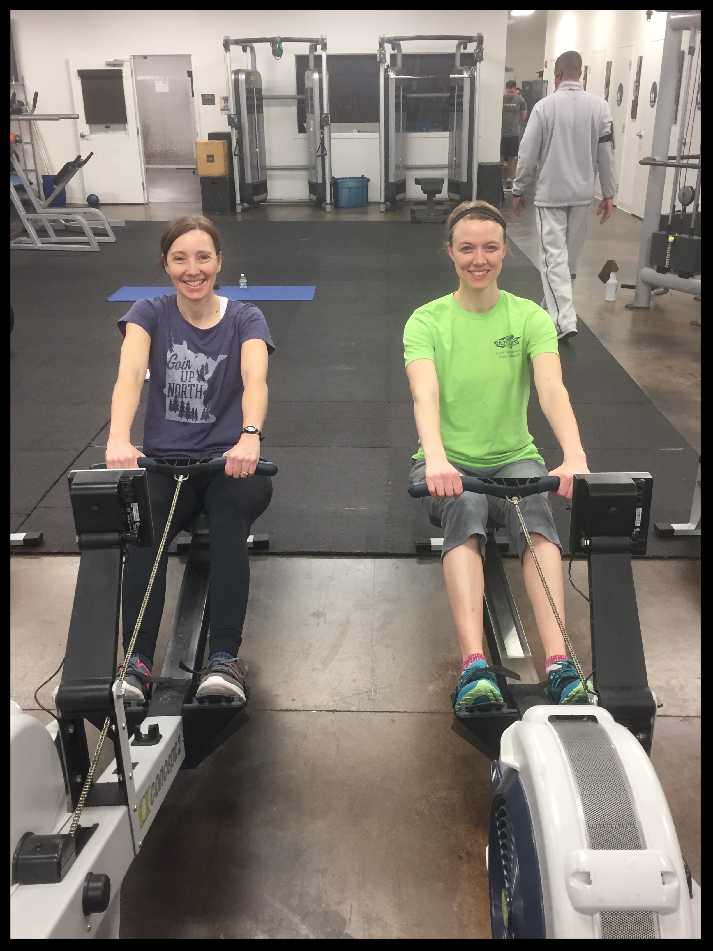 Rowing with team mate Debbie