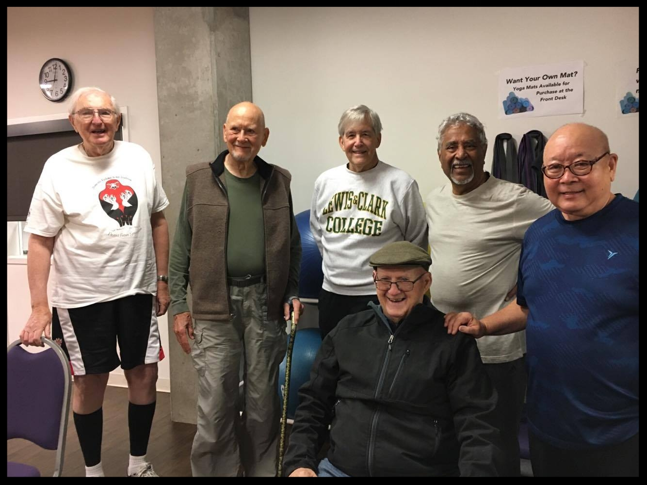 Gilbert (right) with guys who've exercised at RHF together for 7 years!