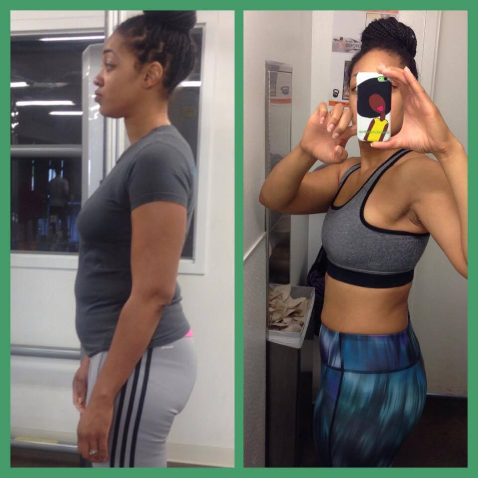 Rosa at initial and final check-ins for 8 Week Challenge