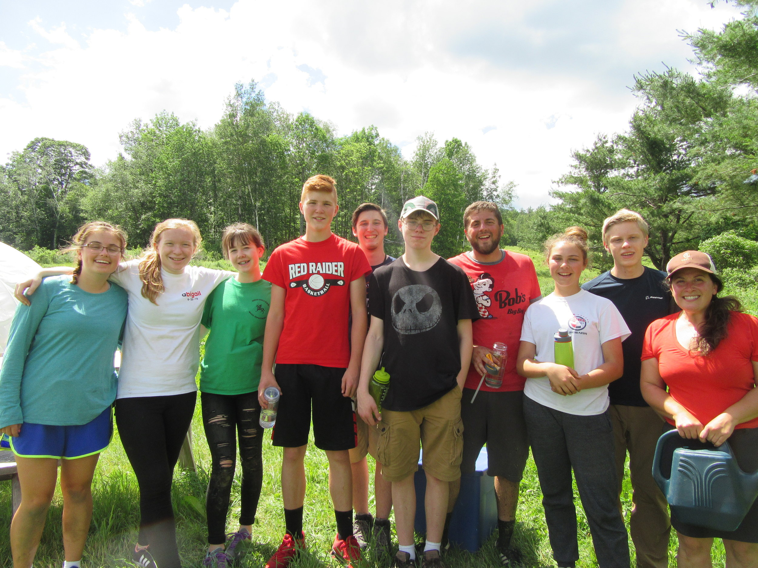 Youth Works crew with Farm Educator Jamie (r).