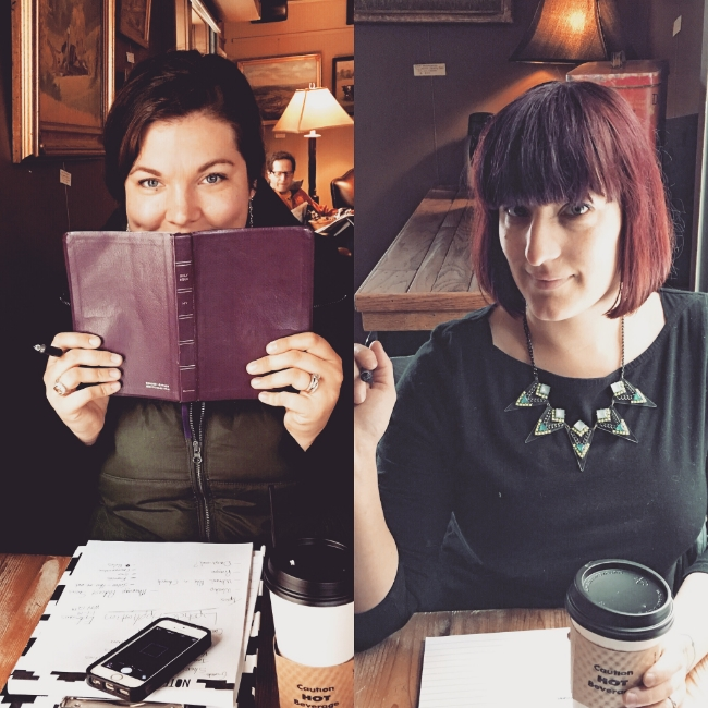 Tara and Marianne planning and scheming editorial for the year while drinking coffee and giggling.