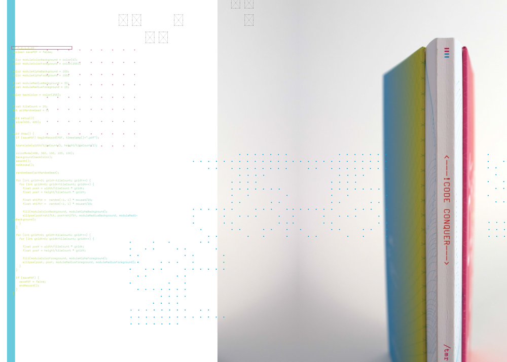 One of the spread and the book spine design