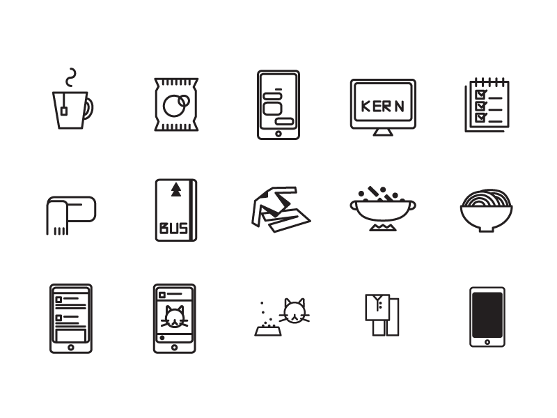 Left to right: afternoon tea, snack, text messaging, kerning typographies, checked to do list, bundle up, bus pass, change out of work cloths, making dinner, noodle, social app, photo social app, change into pajamas, and turns off phone at bedtime.