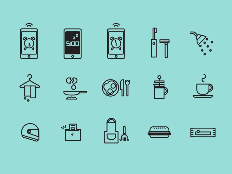 Left to right: alarm, snooze, alarm, morning routine, shower, wet towels, cooking eggs, breakfast, french press coffee, coffee, helmet, clock in, cleaning, sandwich lunch, snack