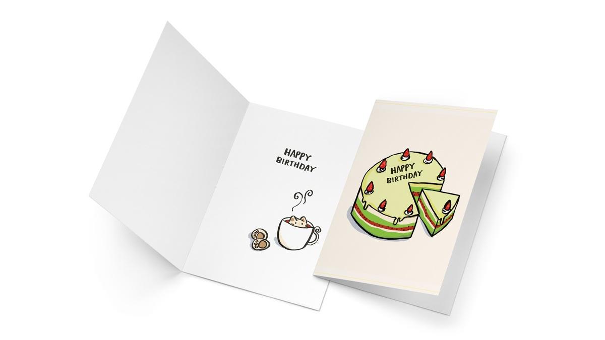 Hand drawn elements on a birthday card.