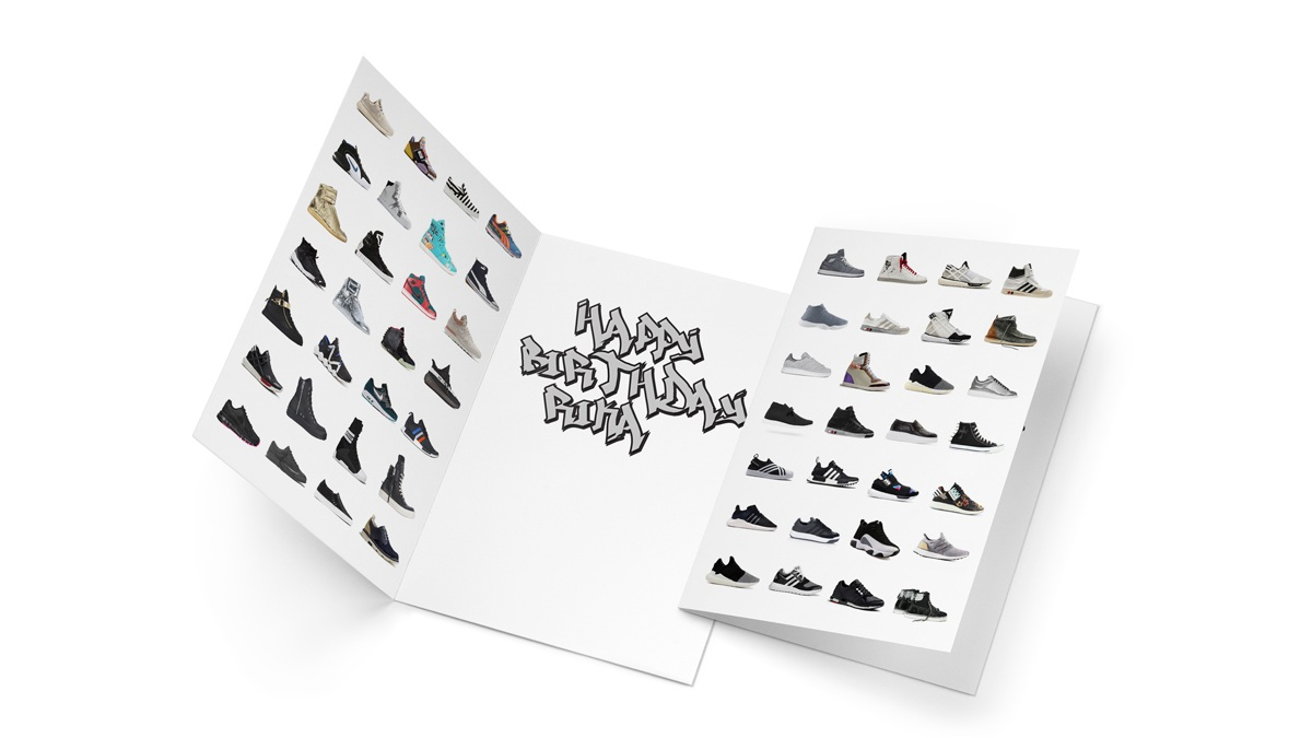A birthday card for a shoe collector.