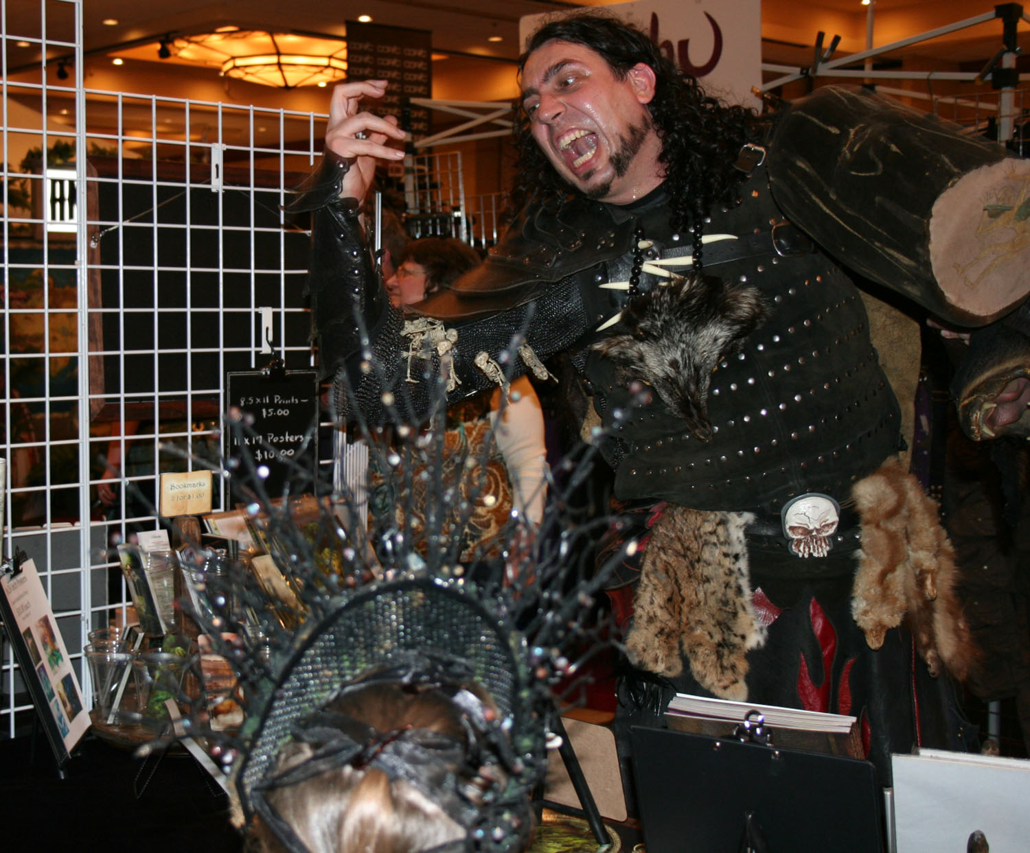 Woton the Faerie Smasher at our booth....Don't worry! All our faeries were safe from him!!