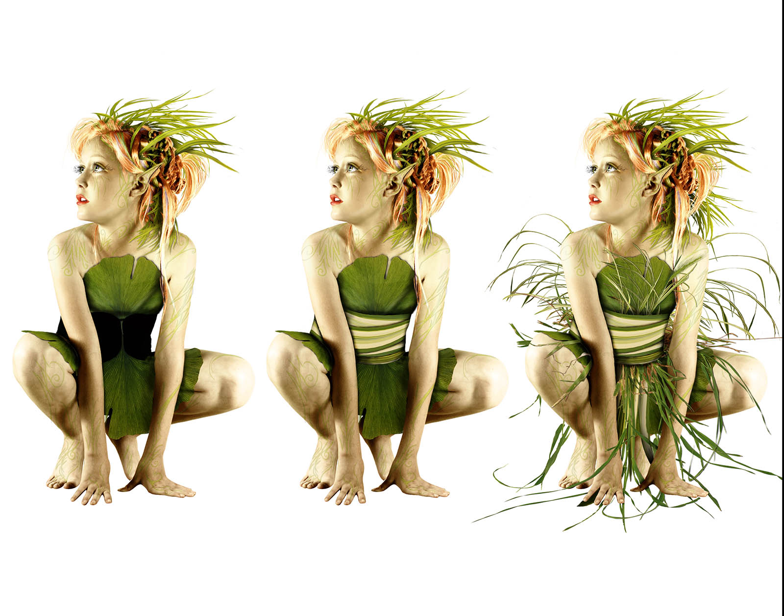Adding more elements, I feel pretty satisfied with how she looks, so far. But, I am a long way from completion. All the grass and leaves in her costume were photographed from my own yard and carefully cut out in Photoshop. The body art was digitally painted. -