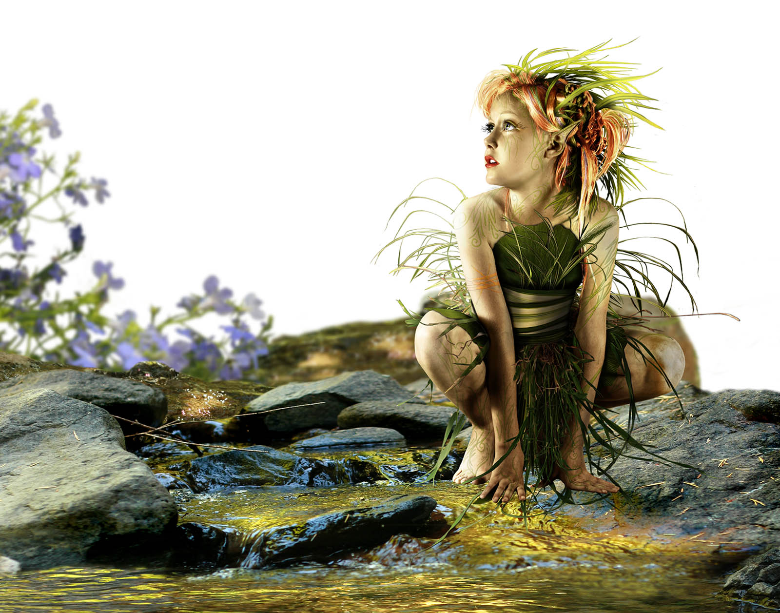 Next begins the background work. The name of this artwork is Summer Whispers.I wanted it to feel like this little garden fairy had found an oasis in the long, hot summers we experience here in northern California where I live. -