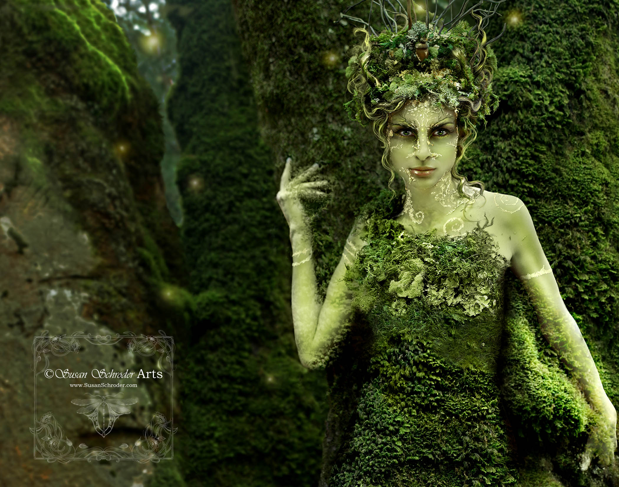 Hedgecreek Dryad is a perfect example of what I would call Photographic Art.          The difference between this and the Photographic Collage Art is that it done on location with models in costume and makeup. The final image has only some post editing fantasy effects done in Photoshop to complete the details. With collage art, I photograph most elements separately and then compile the final work on the computer.                            We shot this image on location at Hedgecreek Falls in Northern California. -