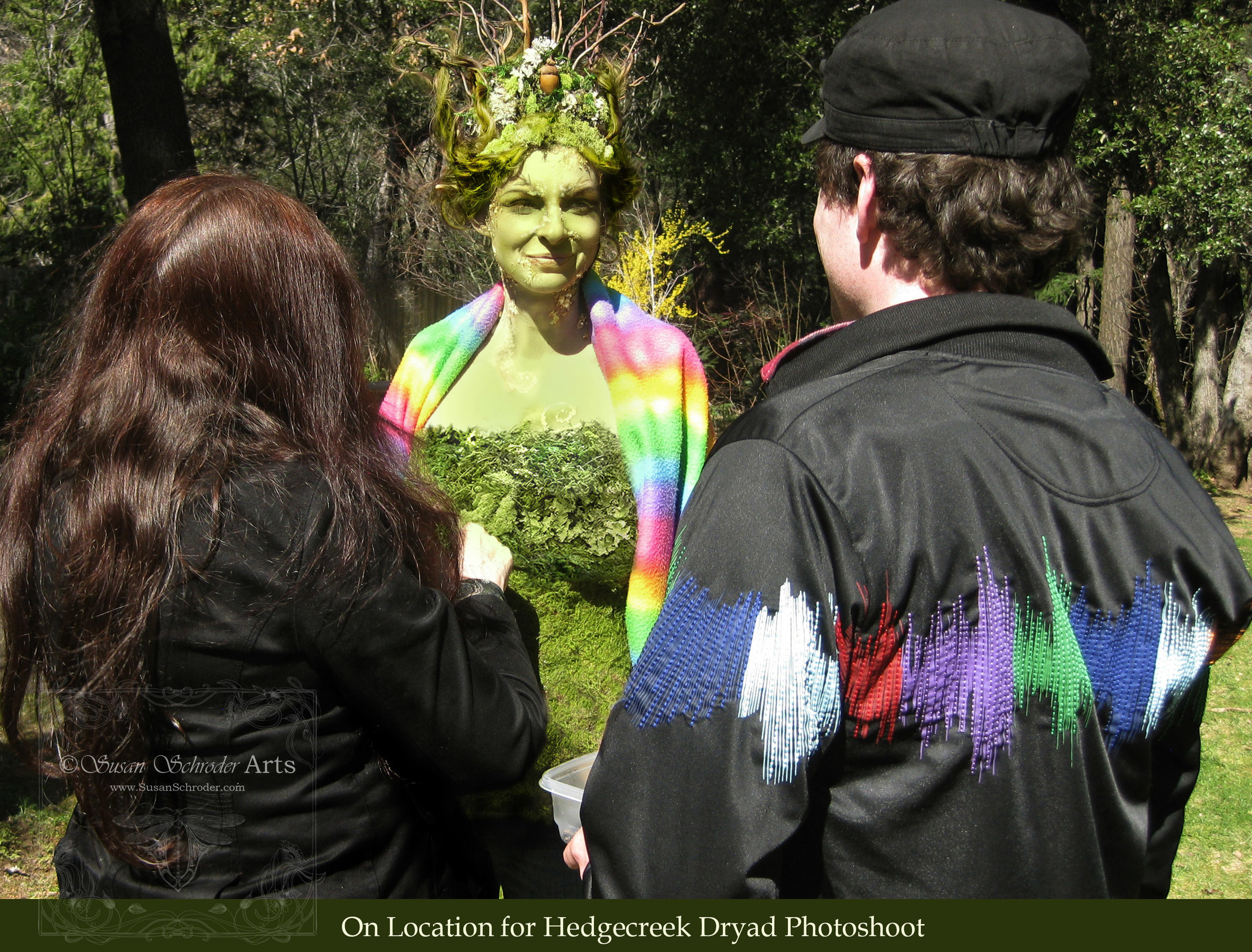 We drove up to the location site and continued the process of makeup, hair and costuming.The headdress and costume were hand made with all that moss sewn on piece by piece to the crown and bodice. It was chilly that day so we were sure to wrap our model in a rainbow blanket!               That's me on the left and my videographer on the right. On a shoot like this I needthe help of a big creative team to keep everything running smoothly as I work on finishing all the details on the model. -