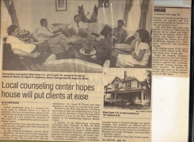 Newspaper article. Circa 1987. Opening of the new family therapy clinic.