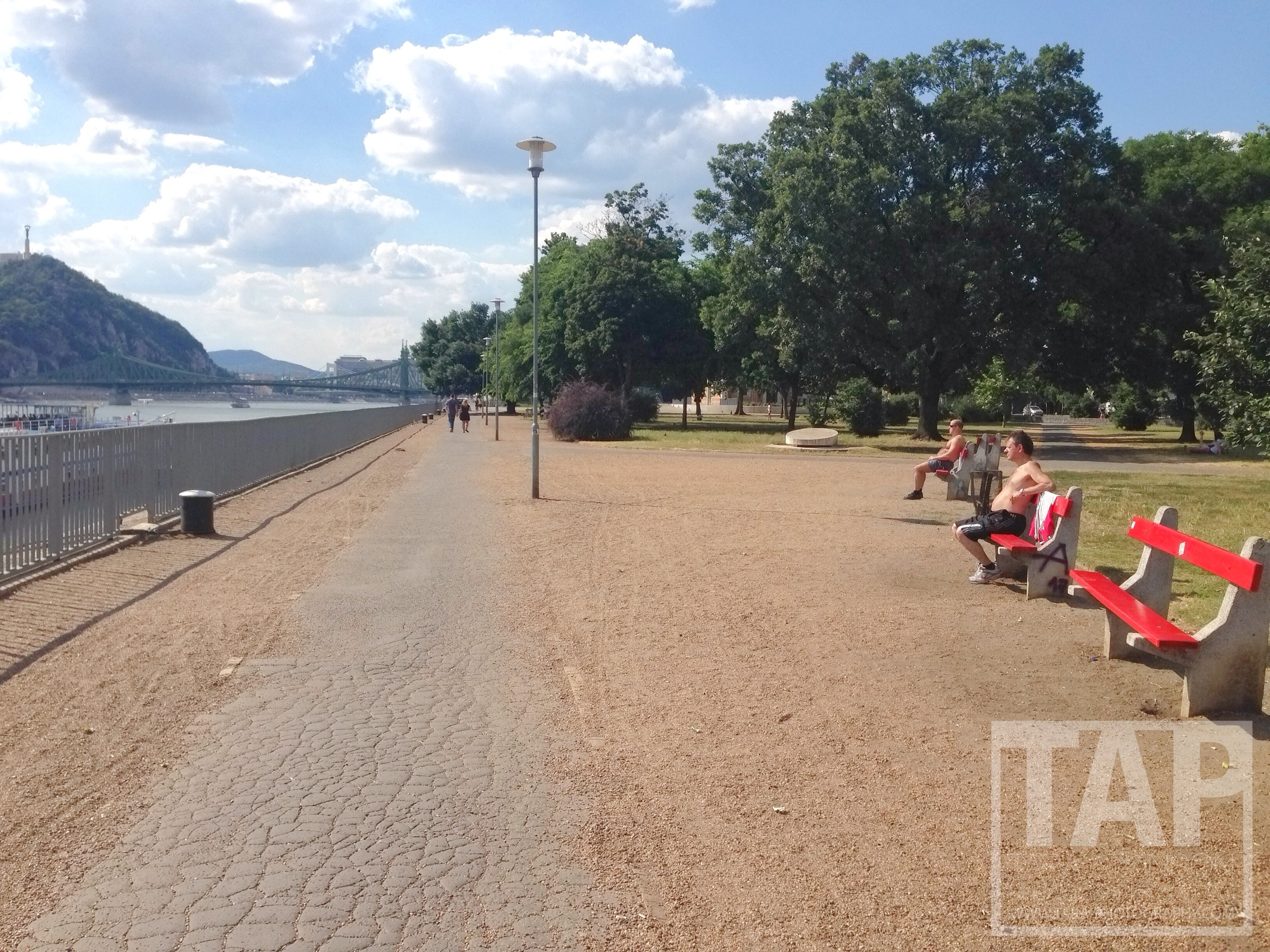 Locals enjoying the rays on the Danube