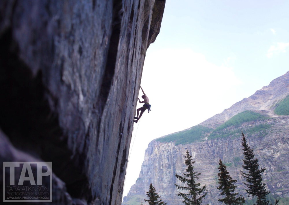 During my time in Canada I was able to climb with and take pictures of some amazing and inspiring climbers. Pictured is Will Stanhope climbing a 7B+/12c mixed route called  Where heathens rage , in Lake Louise, Alberta.