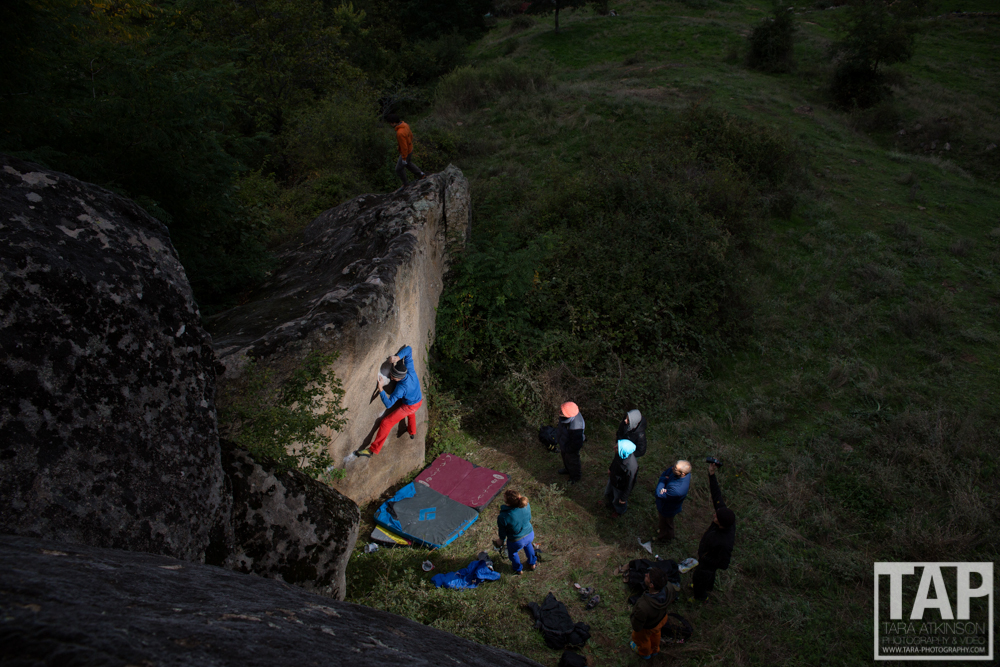 Well known French climber Arnaud Petite sending a boulder problem in Prilep just before it gets too dark.