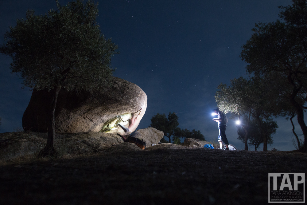Night bouldering in bafa lake, Turkey. It was too hot during the day to climb but we made it out during the night. The moon was out and had some great ambient light to help with this scene.