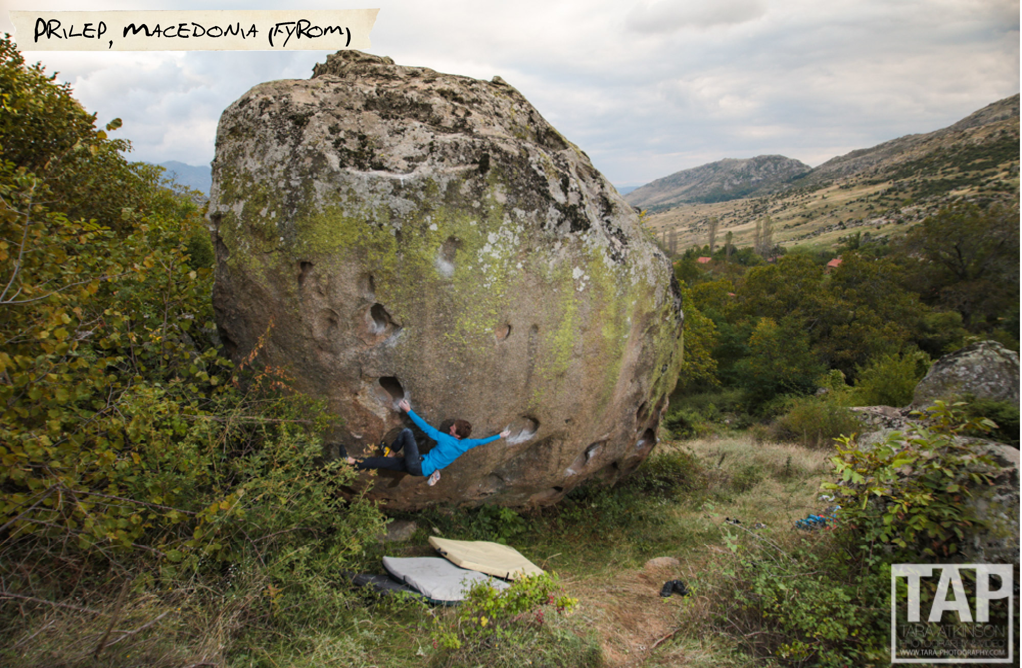 Prilep, Macedonia; Some call it the capital of Balkans bouldering. On these hills criss-crossed with trails made by sheep and goats, many vast, barely touched granite and gneiss boulder fields contemplate the scene. Pictured: Read Macadam