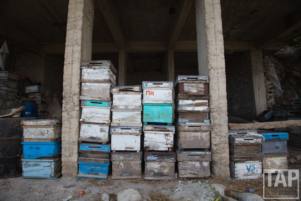 Hundreds of bee boxes can be found lying around, neatly stacked or within the many terraced feilds.