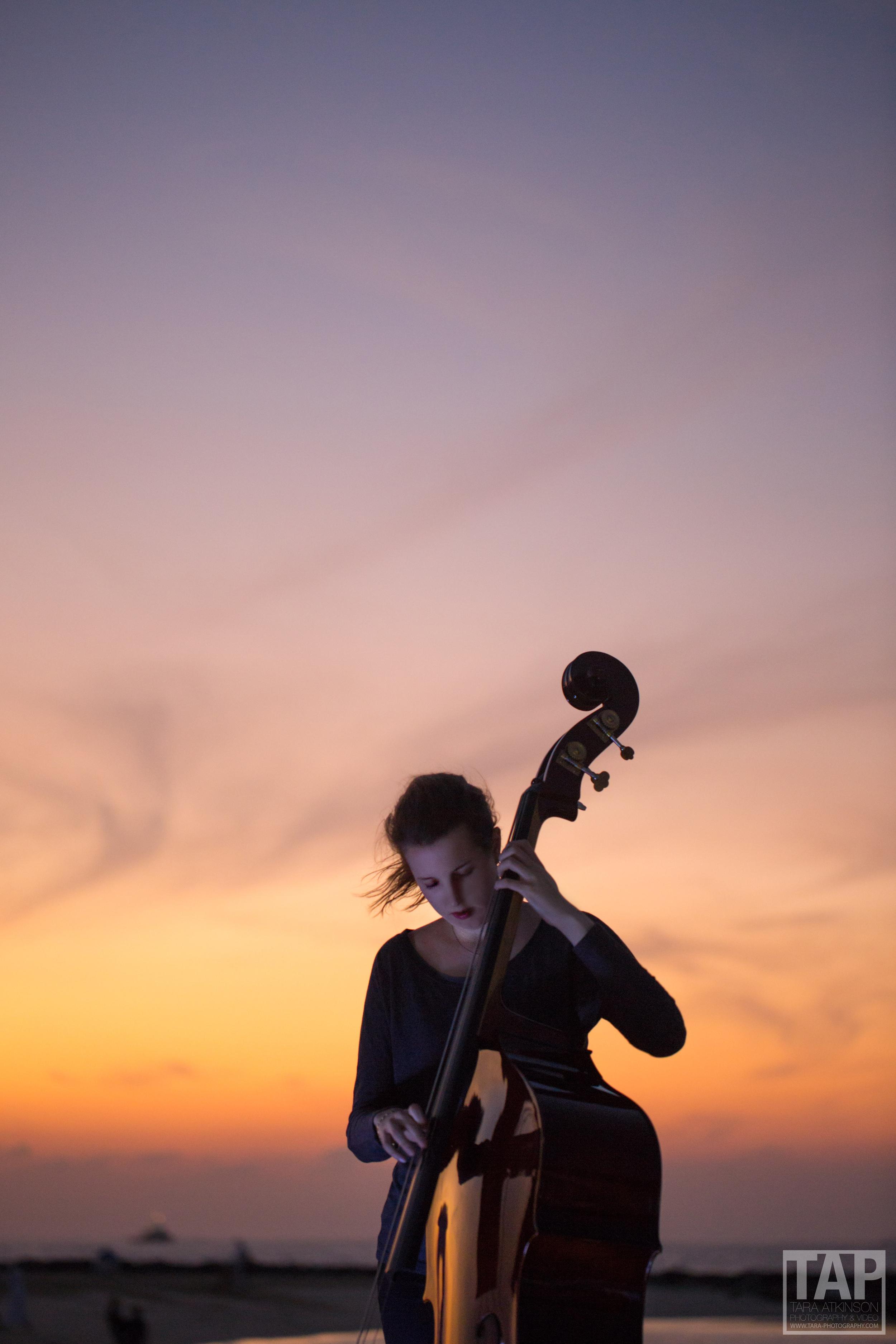 Cello Player on the beach, Dubai