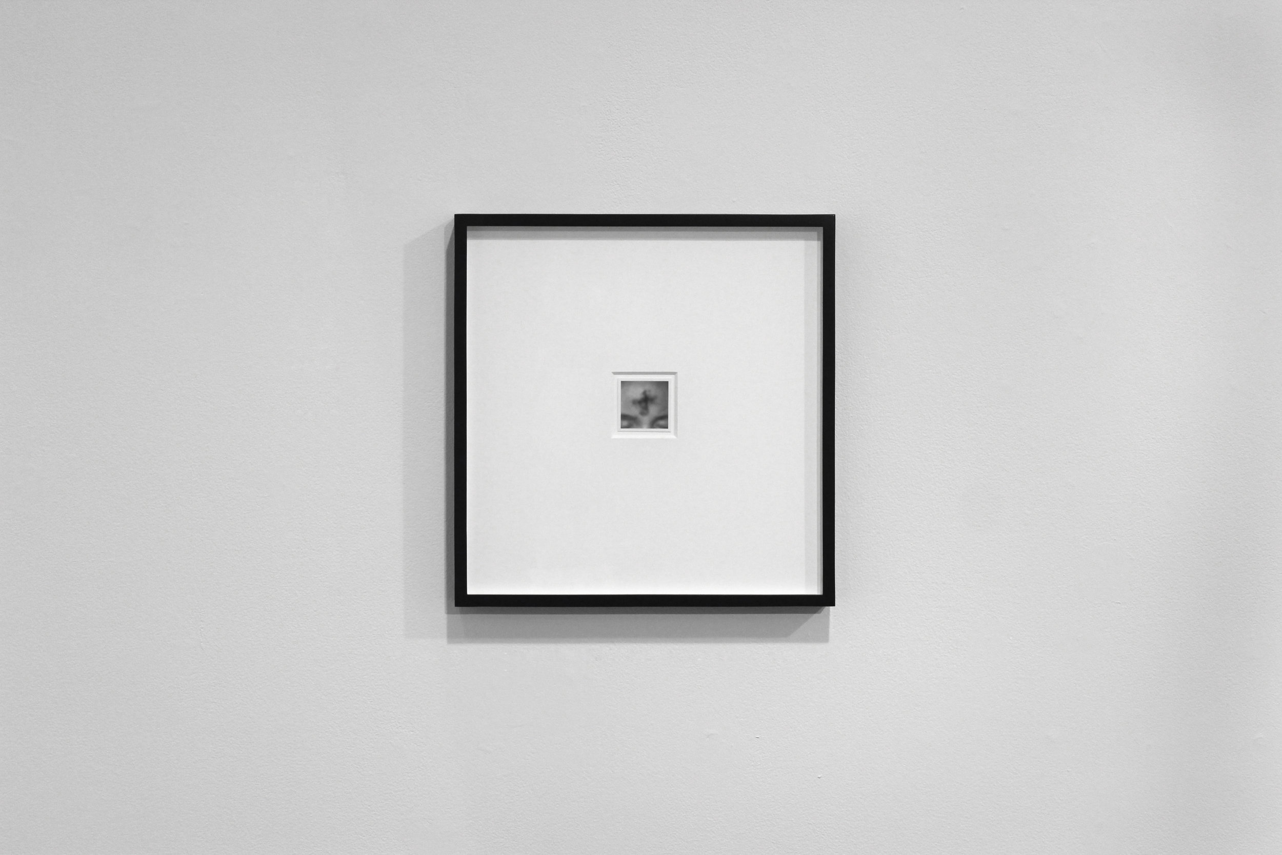 Untitled 51:4, pencil on card, 5 x 5 cm, framed