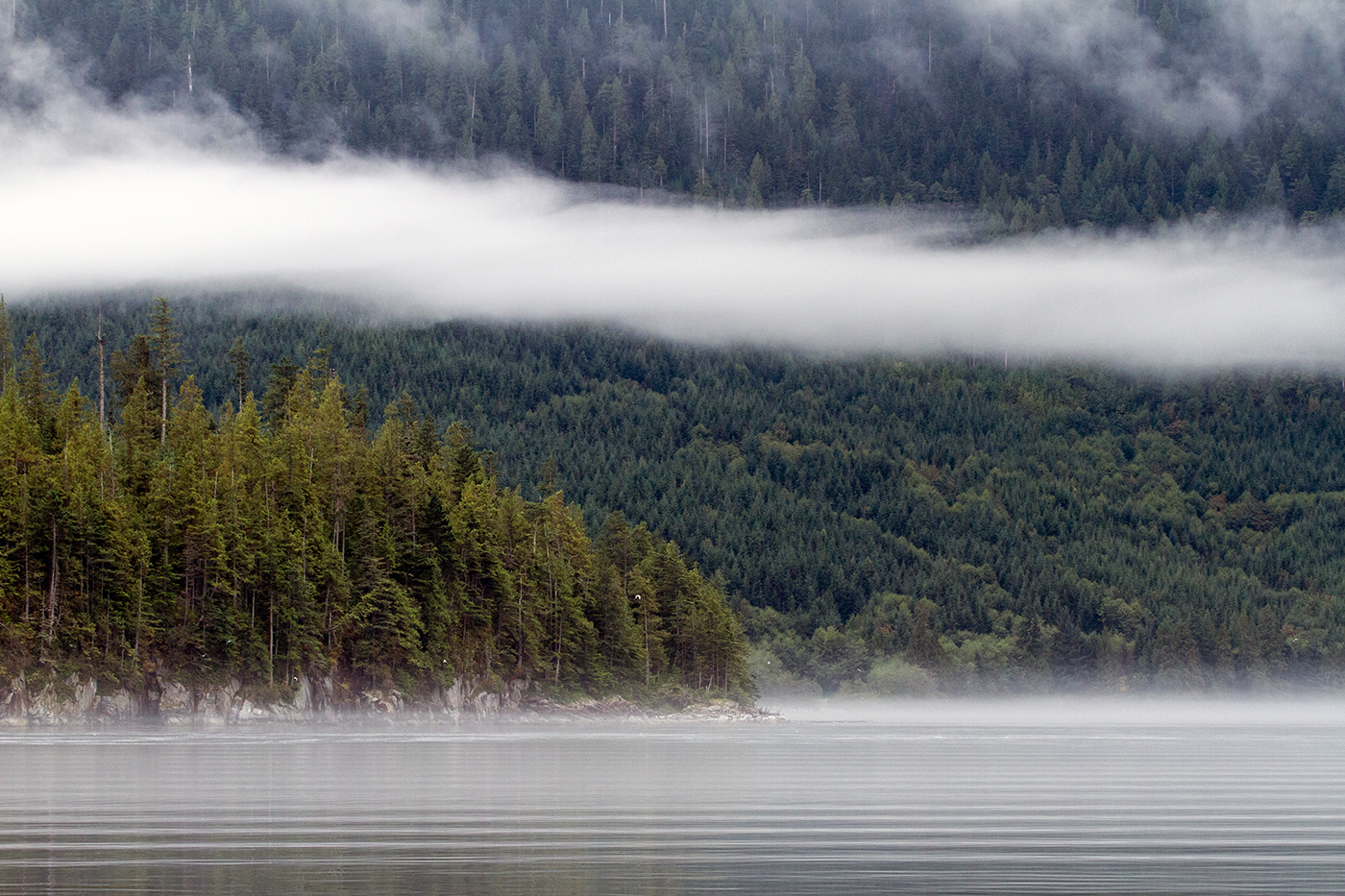 Ribbons of mist on Bute Inlet