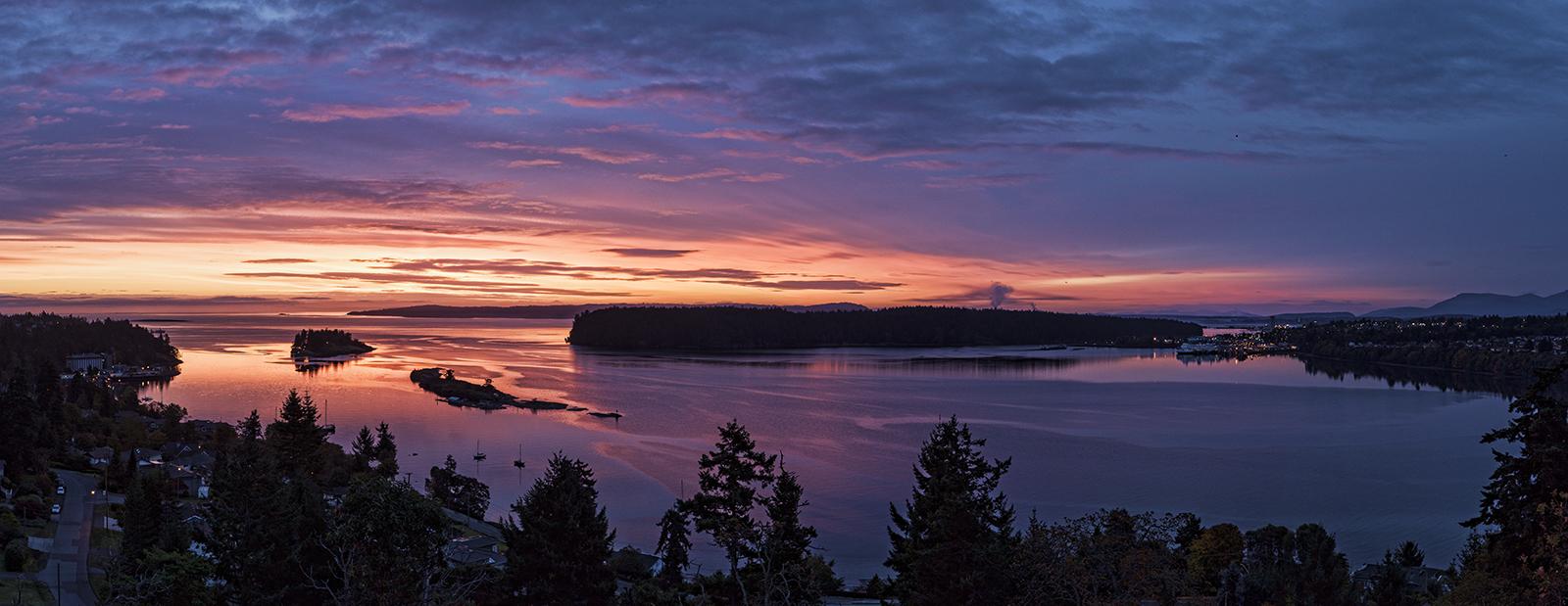 Panorama of Departure Bay at dawn