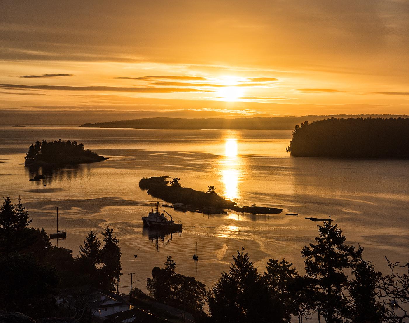 The Canadian Coast Guard ship W.E. Ricker comes into Departure Bay at sunrise
