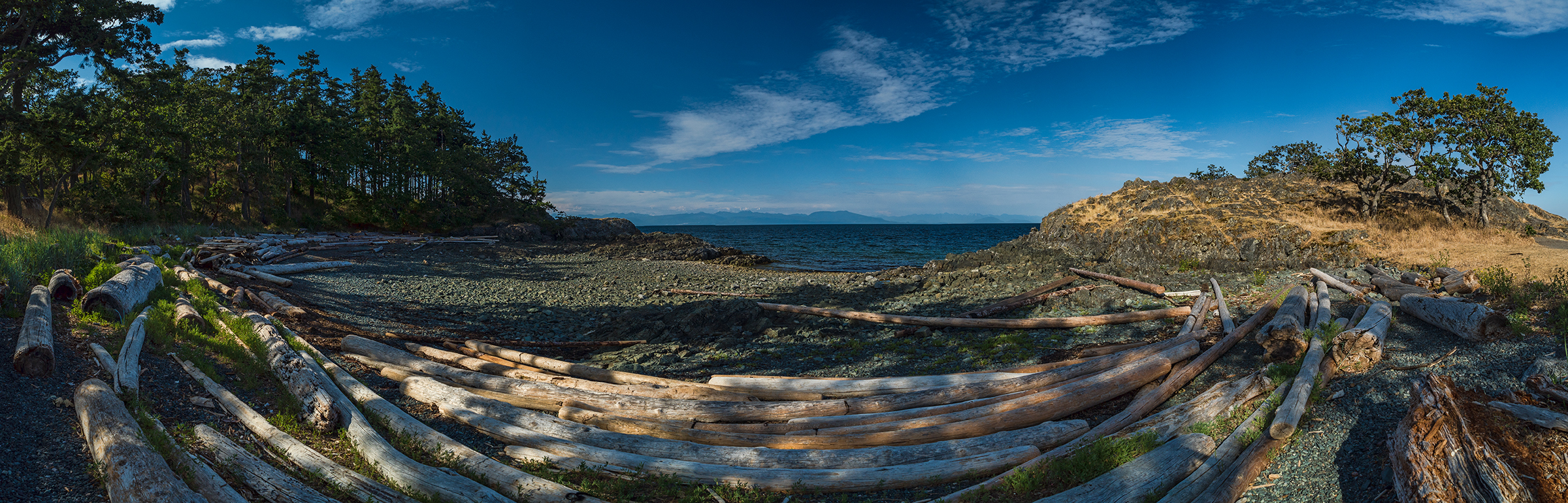 Panorama of beach at Pipers Lagoon Park