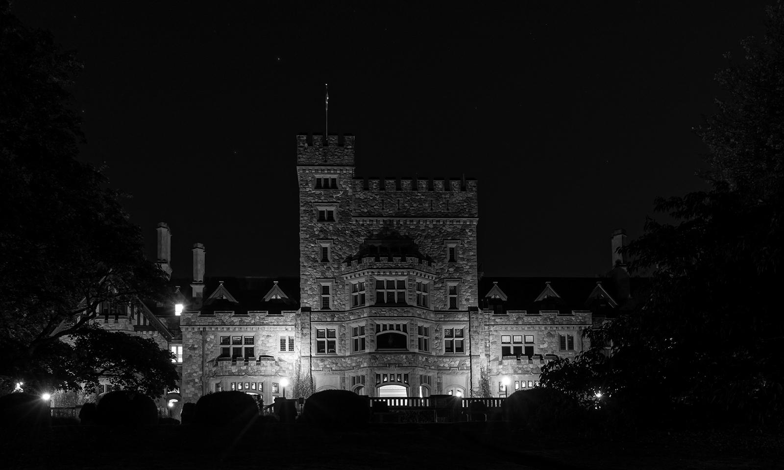 Hatley Castle at night