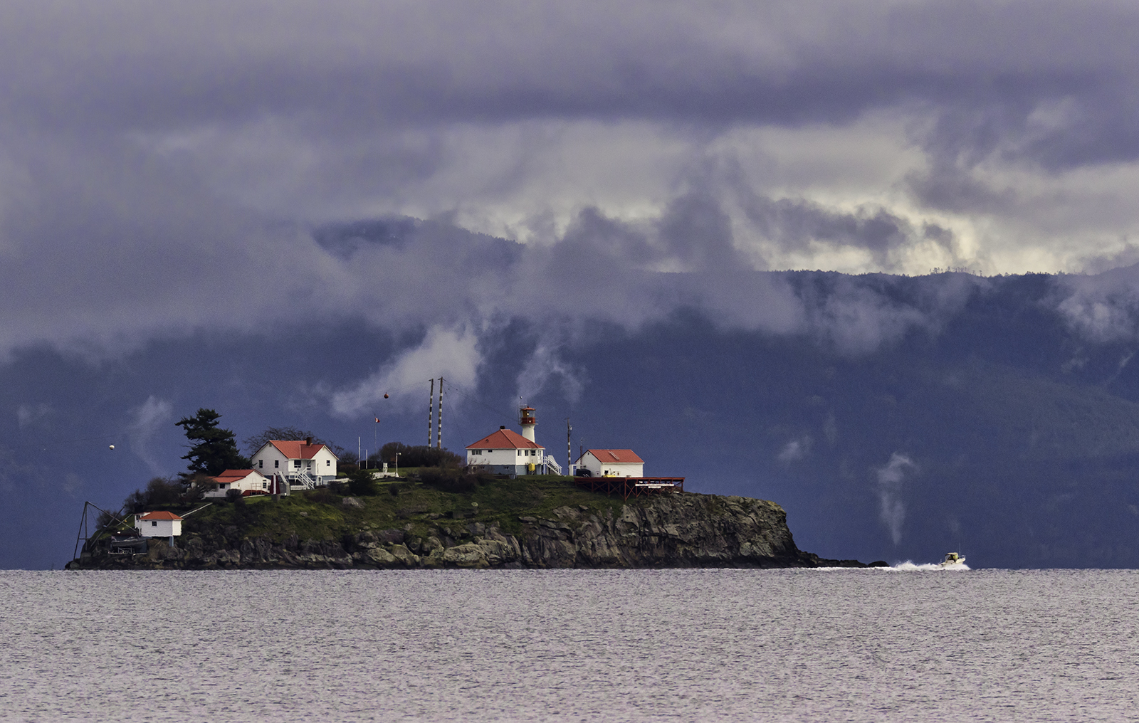 The Chrome Island Lighthouse off the south end of Denman Island