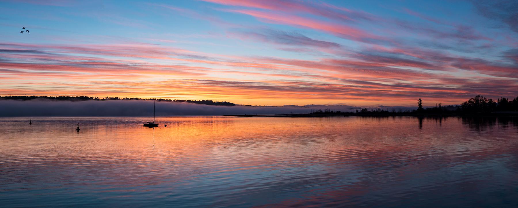 Sunrise at Buckley Bay Ferry Terminal